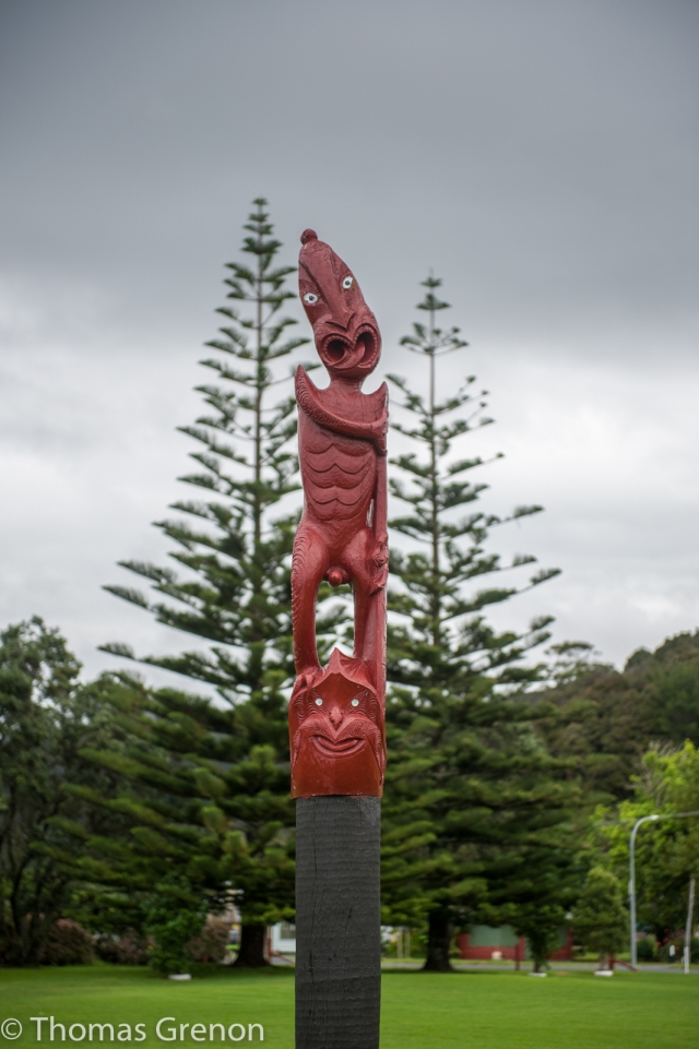A carving outside the Treaty Grounds.
